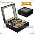 Buena calidad caja de Reloj caja de reloj de lujo con terciopelo suave 6 ranura colección con gran caja de reloj de 44mm caja de regalo con ventana de cristal