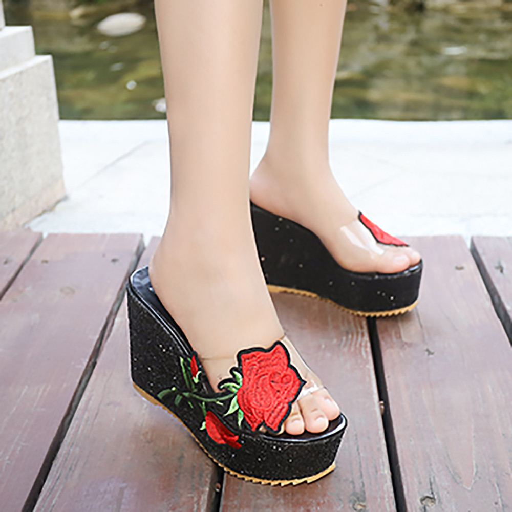 Womens Wedge Sandals - Embroidered High-Heeled Summer Platform Sandals Sloped Slippers Shoes