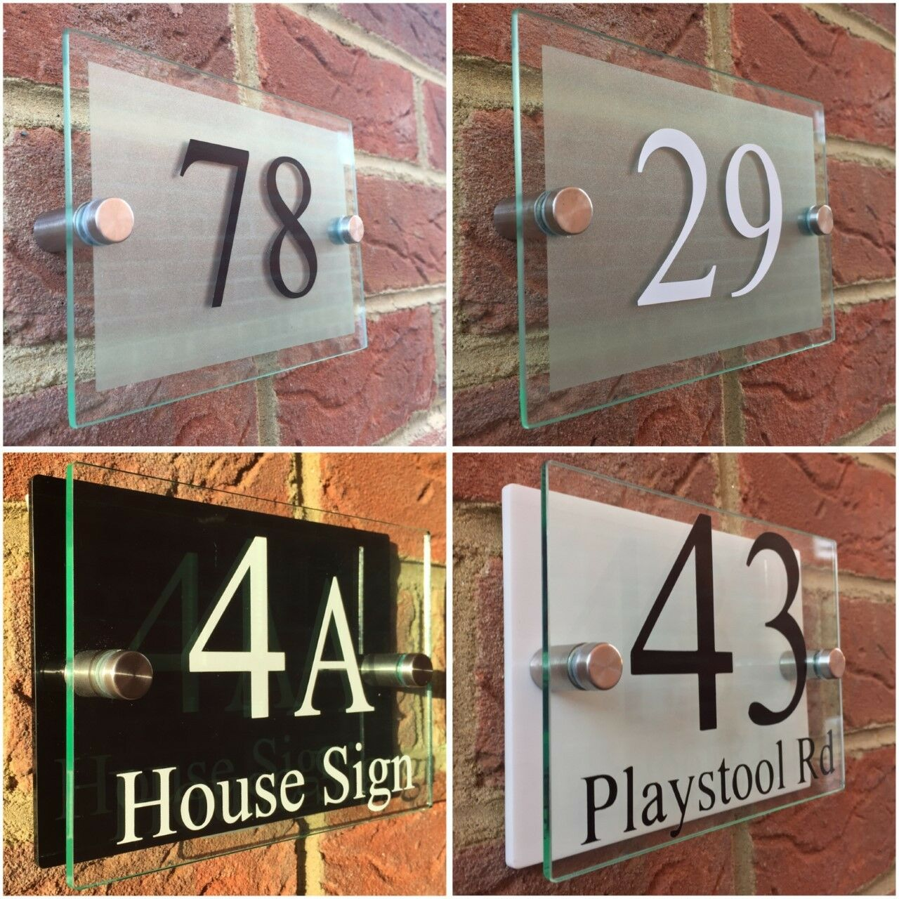Customize 200x140mm MODERN HOUSE SIGN PLAQUE DOOR NUMBER STREET GLASS EFFECT ACRYLIC NAME