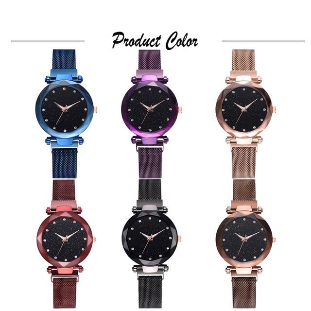 Luxury Women Watches Rose Gold Mesh Ladies Clock Magnet Buckle Starry Diamond Geometric Surface Casual Dress Quartz Wristwatch 5