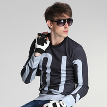 Tops Fashion Letter Print Tees Brand Clothing Harajuku Kpop Long sleeve Full Sweater Man Autumn outfit T-Shirt Male Subcoating