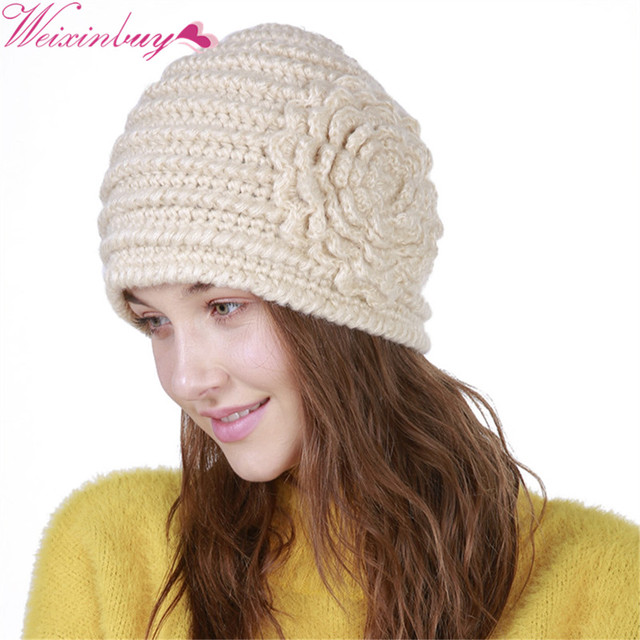 76a2f0ce99c Lovely Handmade With a Flower Winter Beanies Warm Wool Caps For Women  Skullies knitted Girls Cap