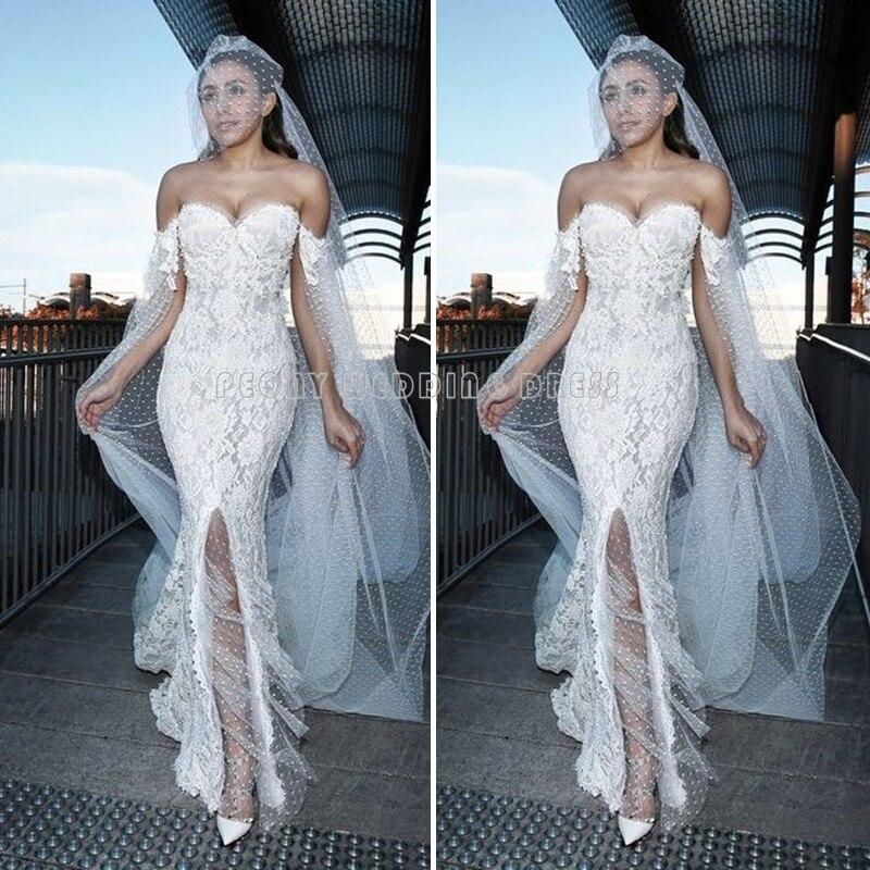 Glamorous Beaded Lace Wedding Dresses Beautiful Slit Sweetheart ...