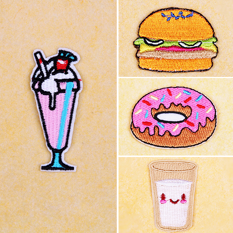 1pcs Embroidery Clothes Patches Fabric Donut Milk Ice Cream Hamburger Iron On Patch Clothing DIY Decoration