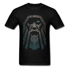 Odin Tshirt Odin Vikings T Shirt Vintage Men Tops Short Sleeve Cotton Tees Black T-Shirt Unique Father's Day Gift Clothes цена и фото