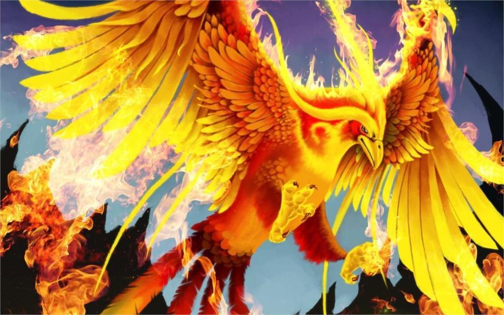 La leggenda dell'arcobaleno. Racconto Navajo. Magico-animali-Uccelli-phoenix-Fire-Fantasy-4-Formati-di-immagine-Canvas-Stampa-Poster
