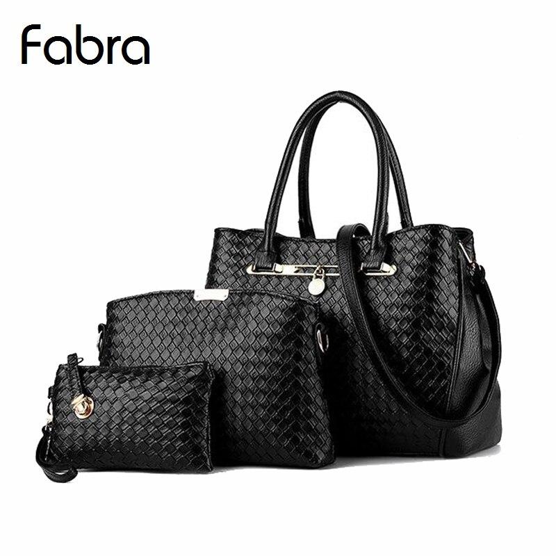 Fabra Knitting Pattern Handbag Woman Messenger Fashion Women Designer Handbags Female Shoulder Crossbody Composite Bag Tote 3Pcs