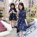 Nueva familia trajes a juego del arco del cuello de gasa vestido de madre e hija madre e hija vestidos de ropa de la familia establece clothing ye8