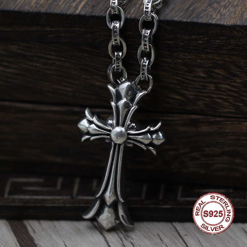 Crosses Jewelry S925 Sterling Silver Pendant Personality Retro Classic Punk Style Double Cross Wild Unique Shape Gift Hot SaleCrosses Jewelry S925 Sterling Silver Pendant Personality Retro Classic Punk Style Double Cross Wild Unique Shape Gift Hot Sale