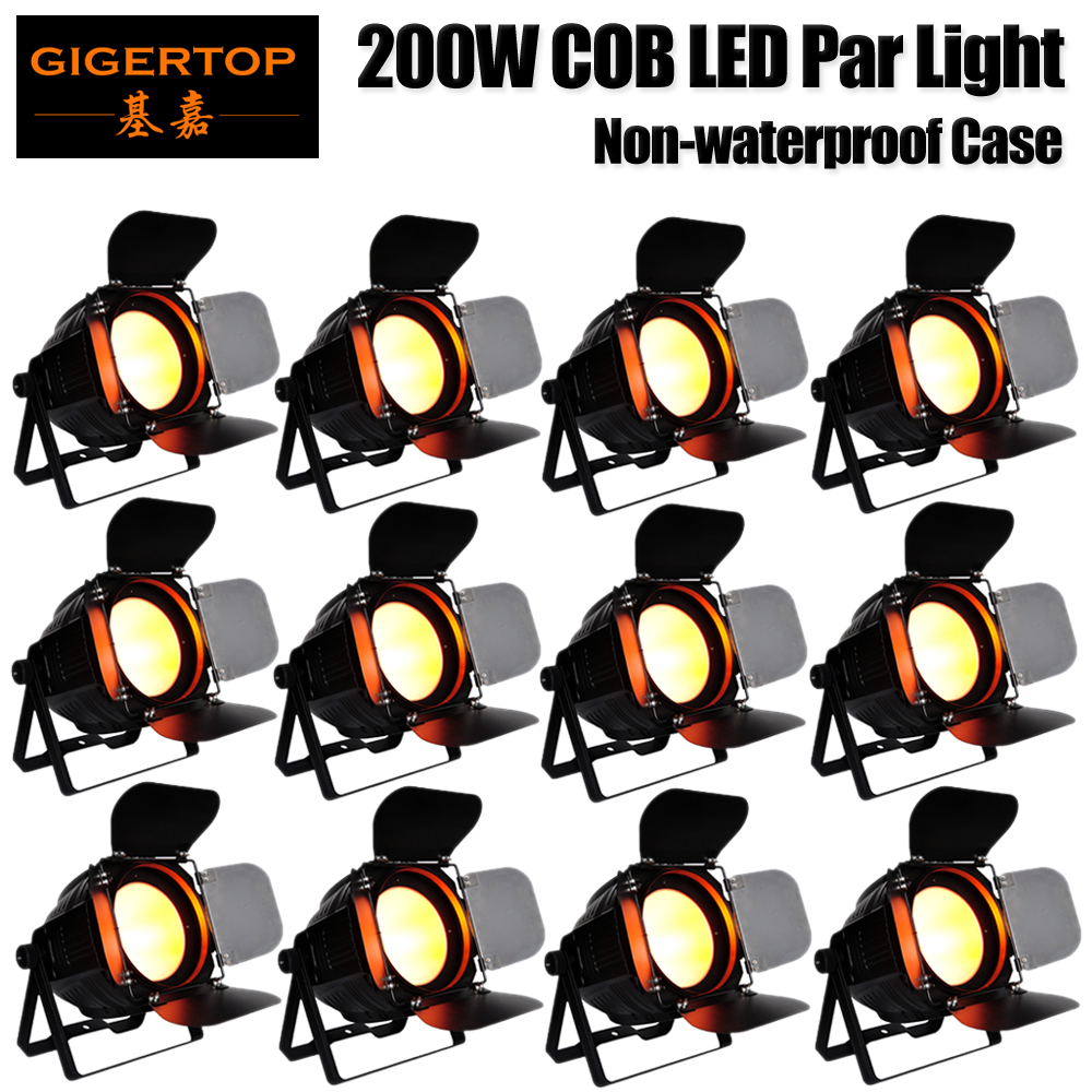 Gigertop 12 Units Professional Disco DJ Wedding Studio DMX Wash Par 200W RGBW COB Par LED Stage Light Sound/Auto/Manual Control