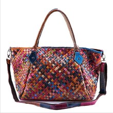 Genuine Leather Handbag Women Vintage Sheepskin Boston Tote Bag  Shoulder Bag Weave Top-handle Bags Random Color