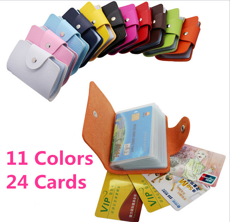 Candy Color Business Credit Card Holder PU Leather Buckle Cardholder 24 Cards ID Card Holder Passport Card Holder Wallet Bag