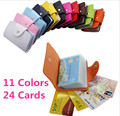 Candy Color Business Credit Card Holder PU Leather Buckle Cardholder 24 Cards ID Card Holder Passport Card Holder Wallet Bag