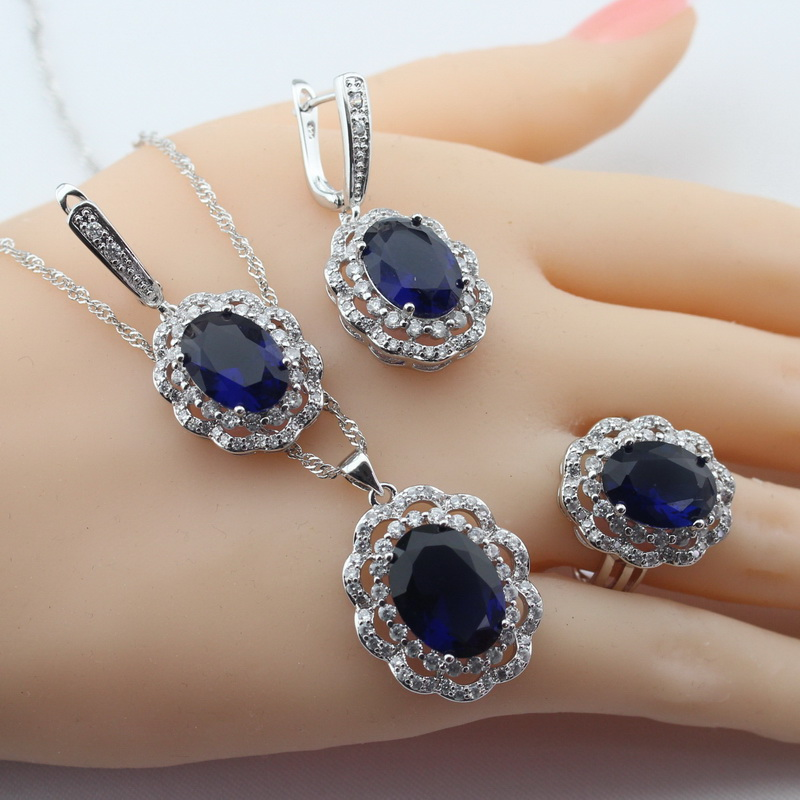 Classic Silver Color Bridal Jewelry Sets For Women Blue Crystal Necklace Pendant Bracelets Earrings Rings Free Box in Bridal Jewelry Sets from Jewelry Accessories