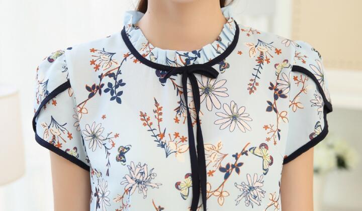 HTB1F3jjQXXXXXckaXXXq6xXFXXXp - Floral Print Chiffon Blouse Collar Short Sleeve Women