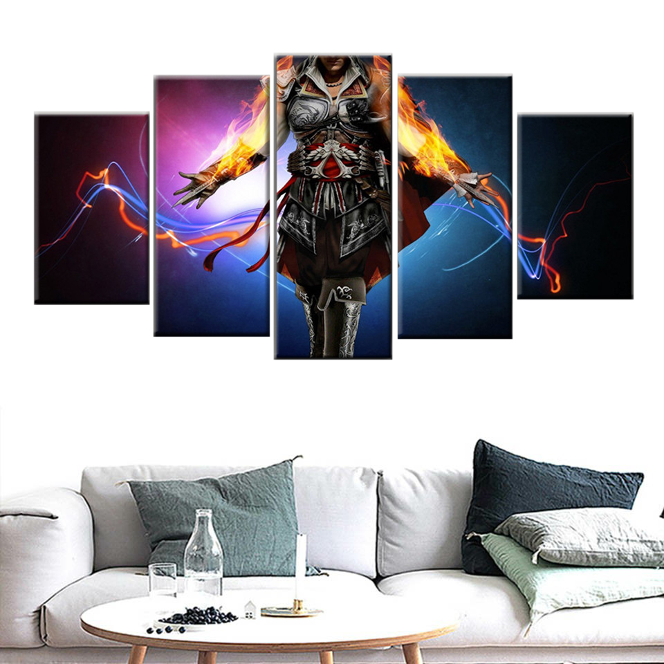 Home Decor Mural Canvas 5 Panel Game Poster Print Wall Picture Assassin Creed Canvas Painting image