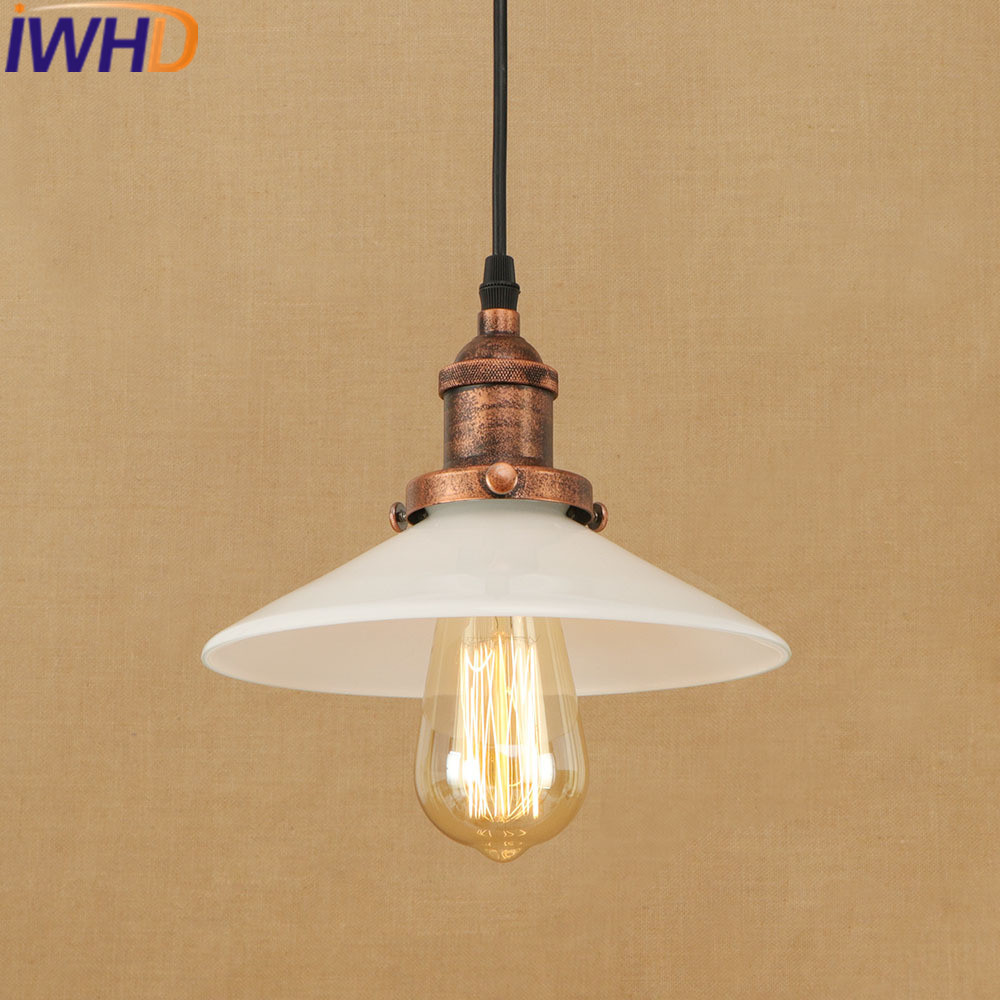 IWHD Glass Hanglamp Industrial Pendant Lamp Style Loft Vintage Retro Pendant Lights White E27 220V For Decor Lamparas акустика центрального канала heco music style center 2 piano white ash decor white