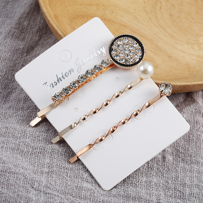 1 Juego de accesorios metálicos minimalistas para el cabello, pasadores de pelo con pasador geométrico Irregular de Color dorado, horquilla con perlas y diamantes de imitación