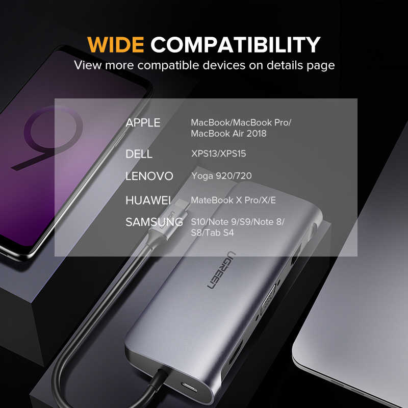 Ugreen Thunderbolt 3 док-станция usb type C к HDMI концентратор адаптер для MacBook samsung Dex Galaxy S10/S9 USB-C конвертер Thunderbolt HDMI