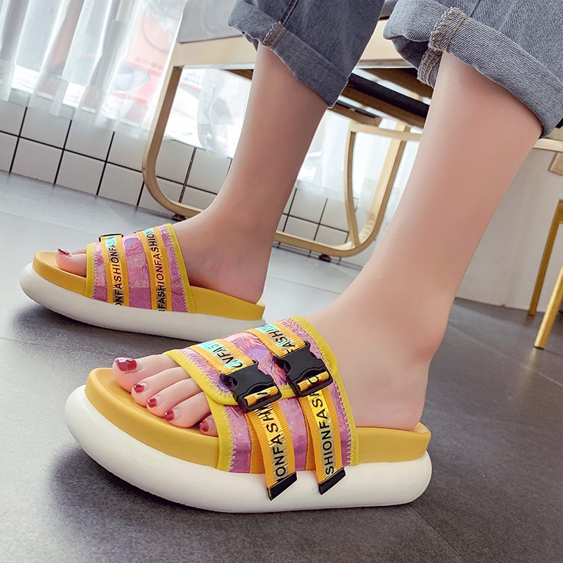 2019 Summer New Slides Slippers Women Shoes Flat Comfortable Peep Toe Buckle Platform Slippers Casual Beach Sandals2019 Summer New Slides Slippers Women Shoes Flat Comfortable Peep Toe Buckle Platform Slippers Casual Beach Sandals