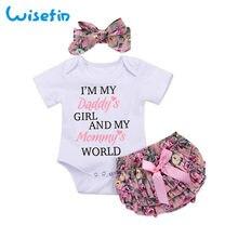14d266dac1d45 Wisefin nouveau-né bébé fille vêtements ensemble été bébé body + Floral PP  Shorts + bandeau infantile tenues mignon enfant en ba.