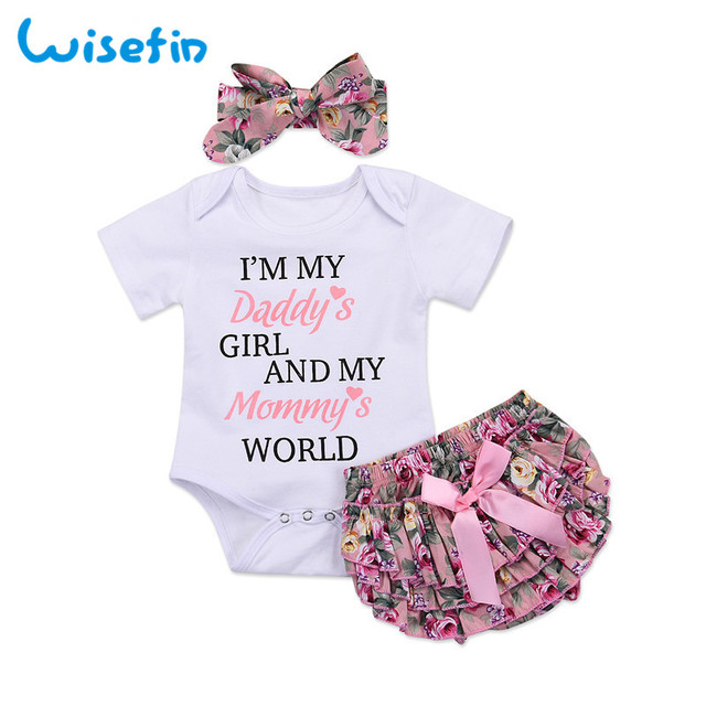 1500b9f3007 Wisefin Newborn Baby Girl Clothing Set Summer Baby Bodysuits+Floral PP  Shorts+Headband Infant Outfits Cute Toddler Girl Clothes