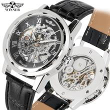 Business Skeleton Watch Mechanical for Men Silver Case Watch for Teenagers Casual Hand-Wind Mechanical Watches for Boy wenger wildspitz w11 09 w11 09black