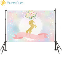 Sunsfun 7x5FT Bokeh Sequins Moon Sky Unicorn Ribbon Flowers Baby Shower Party Custom Photo Backgrounds Backdrops