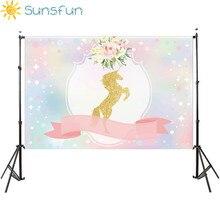 Sunsfun 7x5FT боке пайетки Moon небо Единорог лента цветы Baby Shower партии пользовательские фото фоны фонов 220 см x 150 см