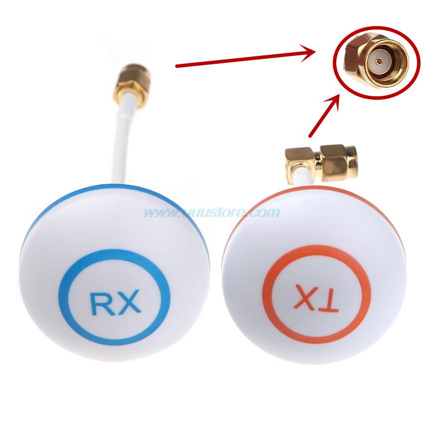 TX 90 degree Hole Antenna RX Straight Hole 5.8Ghz High-gain Clover Mushroom RP-SMA Male Antenna Set for RC FPV Aerial Photo