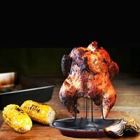 Carbon Steel DIY BBQ Vertical Chicken Duck Grill Baking Roaster Rack Non Stick