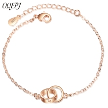 OQEPJ Trendy Double Circle Hollow Love Heart Bracelets 925 Sterling Silver Elegant Women Bangles Personalized Jewelry Hot Sale