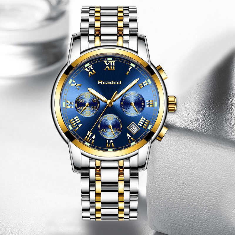 מזדמן כחול שעון גברים אופנה ספורט קוורץ שעון Mens שעונים למעלה מותג יוקרה עסקים עמיד למים שעון Relogio Masculino 2019