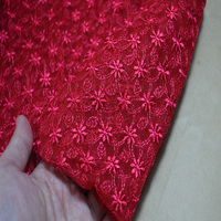 Shiping livre 90 cm largura 1YD brilhante vermelho de seda floral laço de tecido de malha para vestuário de casamento e decoration-17022610