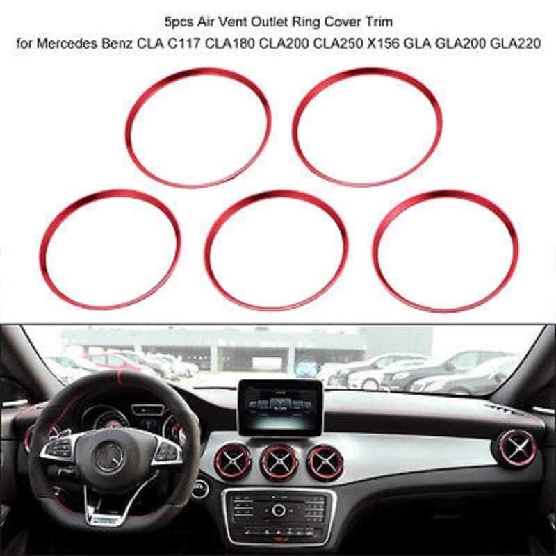 5 шт., устанавливаемое на вентиляционное отверстие в салоне автомобиля кольцо выхода накладка красного цвета для Mercedes Benz CLA C117 CLA180 CLA200 CLA250 X156 ...