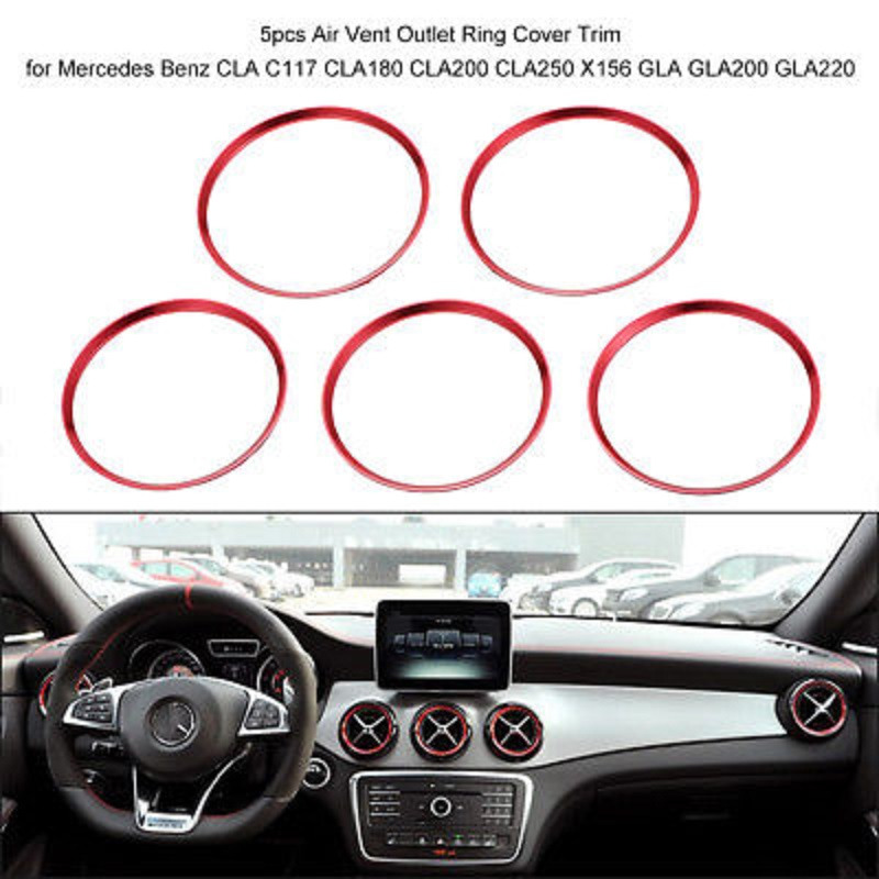 Cuque 2 Pcs Car Air Conditioning Outlet Sticker Durable Carbon Fiber Dashboard Car Air Conditioning Outlet Cover Trim for C Class W205 C180 C200 GLC Classic Style