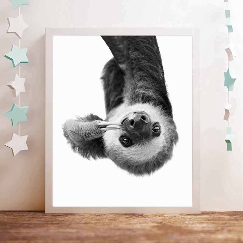 Sloth Animal Wall Art Canvas Print And Poster , Cute Animal Sloth Canvas Painting Black White Photography Picture Nursery Decor