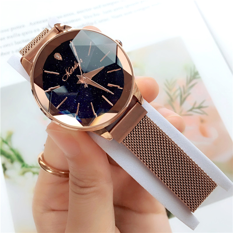 2019 New Arrival Quartz Watch High Quality Waterproof Delicate Fashion Casual Star Sky Student Magnet Mesh Wirst Watch For Gift