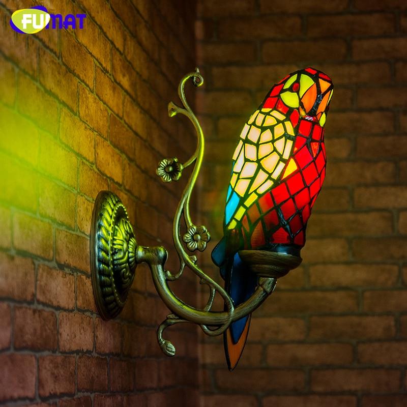 Фумат пятнистости Стекло попугай бра Decor творческий Книги по искусству животного коридор балкон лестницы Винтаж светильники внутреннего с