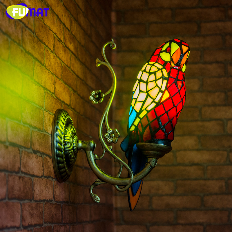 Fumat Stained Glass Parrot Sconce Wall Lamp Decor Creative