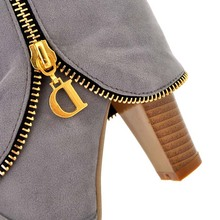 Flock Fashion Women Winter Boots Shoes New Long Boots For Women Big Size Snow Round Toe Square heel High Boots Shoes