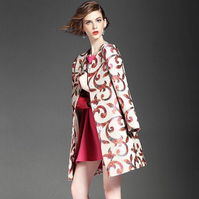 Плюс размер 5XL 2016 осень пальто женщин пальто женщин дамы винтаж вышивка жаккардовые средней длины slim тренч верхняя одежда