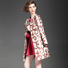 Plus size 5XL 2016 outono casaco de trincheira das mulheres casacos de senhoras das mulheres do vintage bordado jacquard de médio-longo fino trincheira outerwear