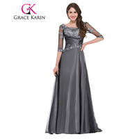 Grace Karin Evening Dress Long 2016 Women Half Sleeve V Back Satin Tulle Prom Gowns Vestidos