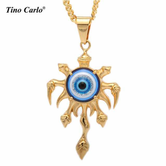 Tino Carlo New S.Steel Blue Evil Eye Necklace Pendant Turkish Jewelry Cool Devil s  Eye Necklace Gold Chains For Men Women Gift a13b532a5