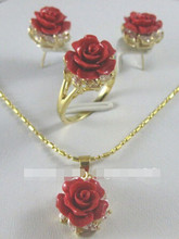 free shipping Pretty Red Coral rose Flower Pendant Earring Ring lady's set(China)