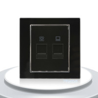 Manufacture Black Crystal Glass Panel 2 Gang Telephone And Computer Socket TEL And COM Wall Plug