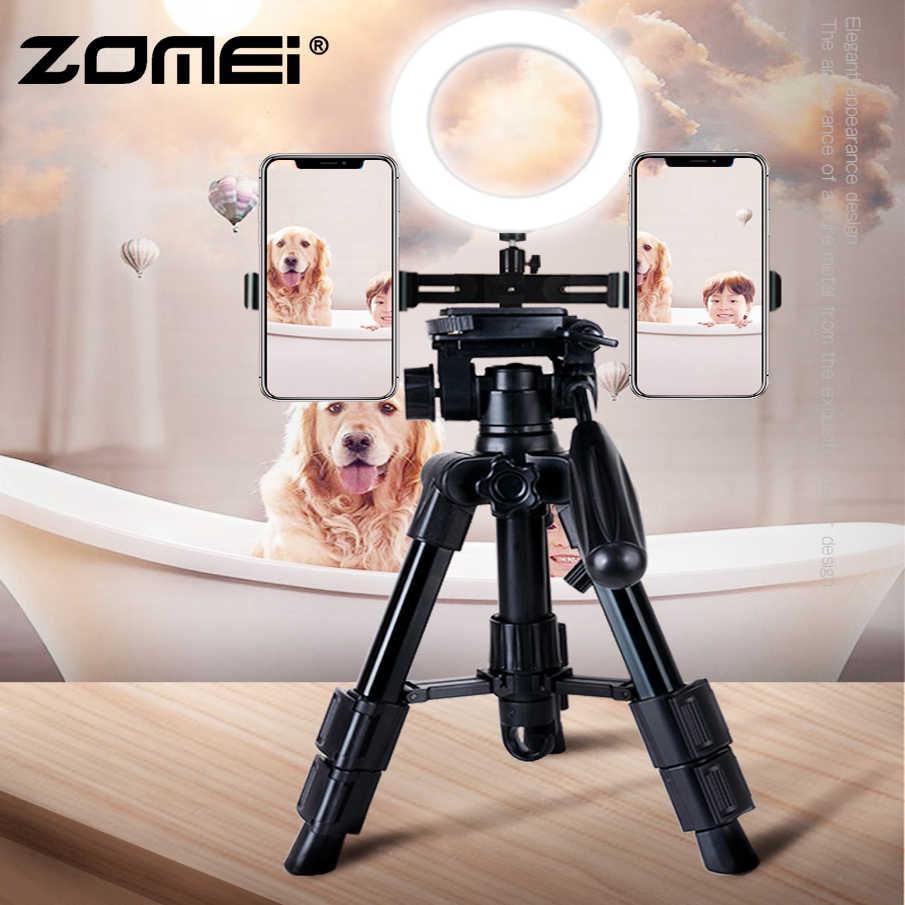 Zomei youtube fazer suporte ao vivo desktop multi-câmera de tiro do telefone portátil âncora mini tripé led luz vídeo unboxing conjunto completo