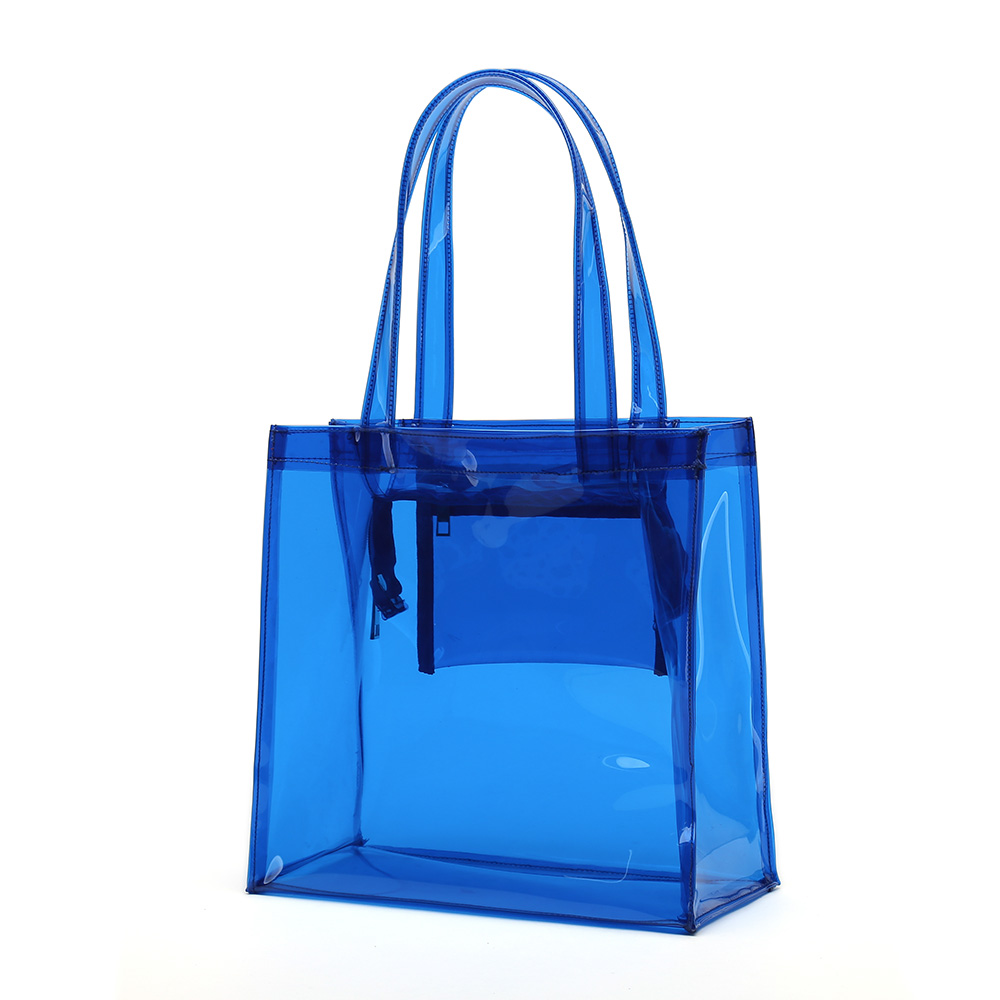 PANDA SUPERSTORE Candy Color Transparent Waterproof Beach Tote//Wash Bag Blue