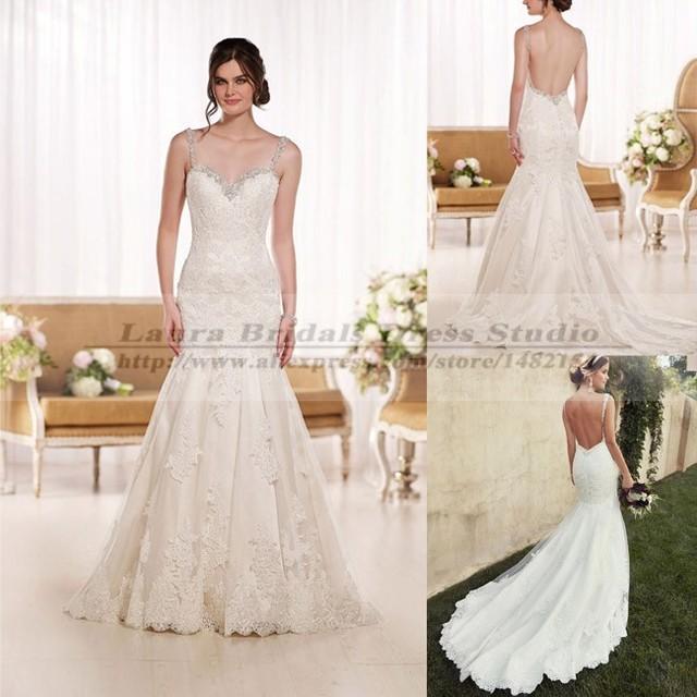 Vestido Casamento Civil Open Back Lace Wedding Dresses Sexy Long Tail Mermaid Reception